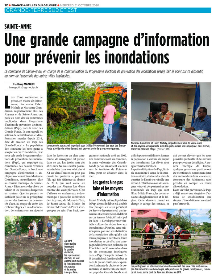 Article du journal le France Antilles Guadeloupe du 21 octobre 2020